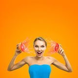 Frau mit Frucht Stockbilder