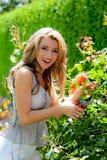Frau mit Gartenscheren und Rose Stockfotografie