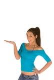 Frau mit geöffneter Palme Lizenzfreie Stockbilder