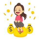 Frau mit Geld Stockbild