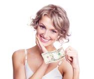Frau mit Geld Lizenzfreie Stockbilder