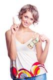 Frau mit Geld Stockfotos