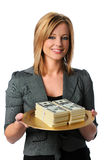 Frau mit Geld Lizenzfreies Stockfoto