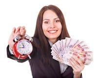 Frau mit Geld. Russischer Rubel. Stockbild