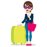 Frau mit Gepäck Stockfotos
