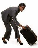 Frau mit Gepäck Stockbild