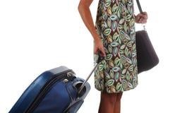 Frau mit Gepäck Lizenzfreie Stockfotos