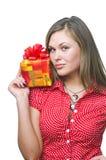 Frau mit Geschenk Lizenzfreies Stockbild