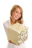 Frau mit Geschenk Stockfoto
