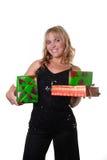 Frau mit Geschenken Lizenzfreies Stockbild