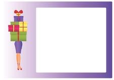 Frau mit Geschenken Stockfotos