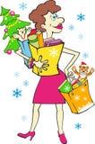 Frau mit Geschenken des neuen Jahres stock abbildung