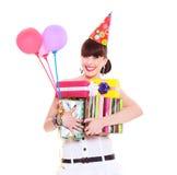 Frau mit Geschenken und Ballonen Stockfotografie