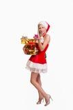 Frau mit Geschenkkästen Lizenzfreie Stockfotos