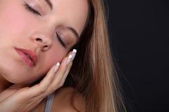 Frau mit geschlossenen Augen Stockfoto