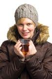 Frau mit Getränk Stockfotos
