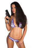Frau mit Gewehr Stockbilder