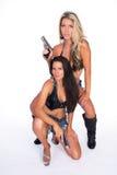 Frau mit Gewehr Lizenzfreie Stockbilder
