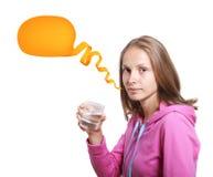 Frau mit Glas Wasser auf Weiß Lizenzfreies Stockbild