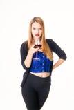 Frau mit Glas Wein Lizenzfreies Stockfoto