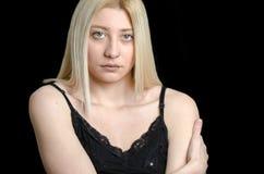 Frau mit grünen Augen und hübschem Gesicht Stockfotografie