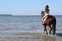 Frau mit großem braunem Pferd lizenzfreie stockbilder