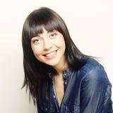 Frau mit großem glücklichem Lächeln Lizenzfreie Stockbilder