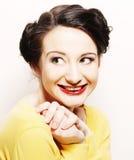 Frau mit großem glücklichem Lächeln Stockbilder