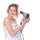 Frau mit hairdryer Lizenzfreies Stockfoto