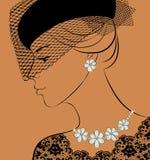 Frau mit Halskette und Ohrringen Lizenzfreies Stockbild