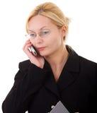 Frau mit Handy Lizenzfreies Stockbild