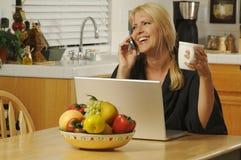 Frau mit Handy u. Laptop Lizenzfreies Stockfoto