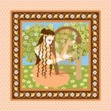 Frau mit Harfe Stockbilder