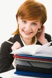 Frau mit Haufen der Papiere Stockfotos