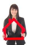 Frau mit Haus Stockbilder