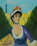 Frau mit Hut in einem Park vor dem Eiffelturm stock abbildung