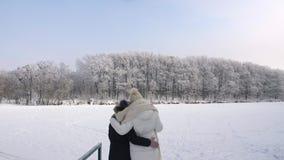 Frau mit ihrer Tochter, welche die Frostbäume betrachtet stock footage
