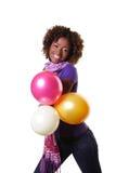 Frau mit irgendwelchen Ballonen Lizenzfreie Stockfotos