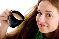 Frau mit Kaffeetasse Lizenzfreies Stockfoto