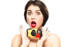 Frau mit Kamera Stockfotografie