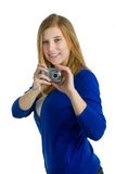 Frau mit Kamera Lizenzfreie Stockbilder