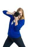 Frau mit Kamera Lizenzfreie Stockfotos