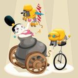 Frau mit Kanone und Dachshunds im Zirkus Stockfoto
