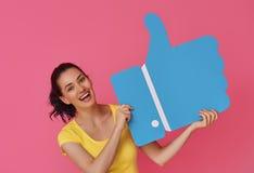 Frau mit Karikatur mögen Ikone Stockbild