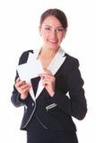 Frau mit Karte Stockfotografie