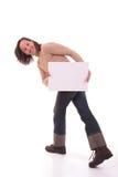 Frau mit Karte II Stockfoto