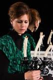 Frau mit Kerzenhalter Lizenzfreies Stockbild
