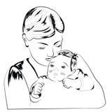 Frau mit Kind-scetch Stockbild