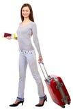 Frau mit Koffer stockbilder
