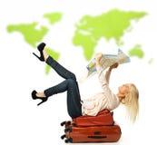 Frau mit Koffer Lizenzfreies Stockfoto
